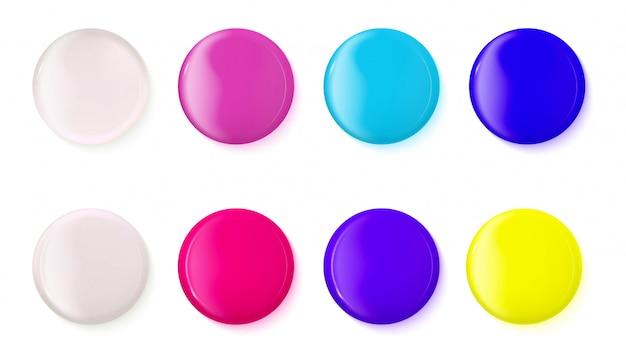 Conjunto de botões brilhantes realistas