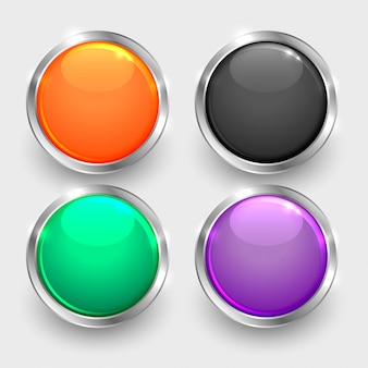 Conjunto de botões brilhantes redondos brilhantes