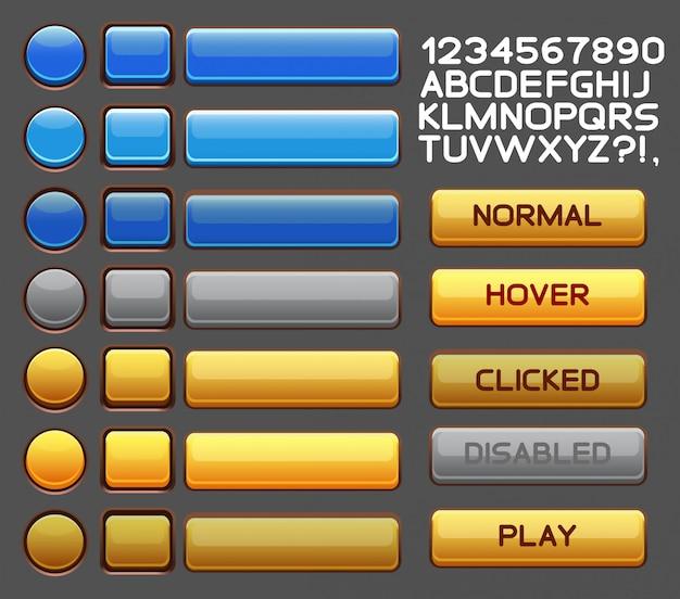 Conjunto de botões brilhantes