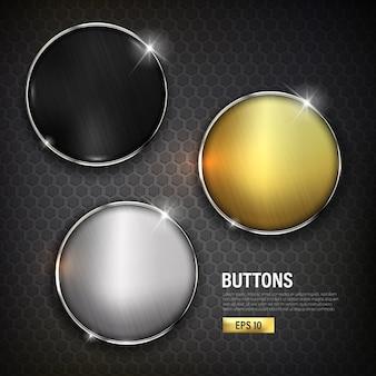 Conjunto de botões círculo cor moderna ouro prata e preto