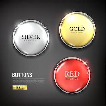 Conjunto de botões círculo cor moderna ouro prata e vermelho