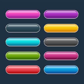 Conjunto de botões coloridos da web