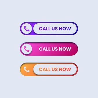 Conjunto de botões coloridos de chamada