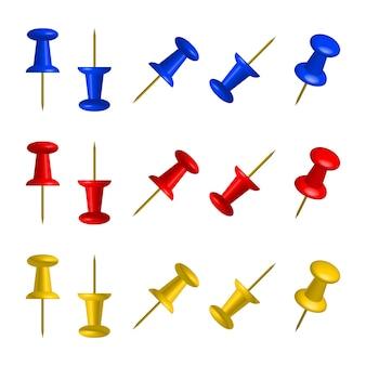 Conjunto de botões coloridos de escritório. 3d