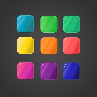 Conjunto de botões coloridos de interface de jogo botões para web ou design de jogos