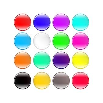 Conjunto de botões coloridos em fundo branco