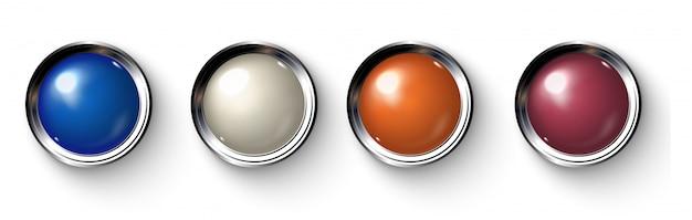 Conjunto de botões coloridos realistas com bordas metálicas.