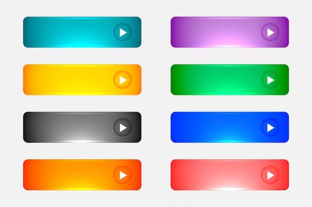 Conjunto de botões coloridos vazios web brilhante ou lustroso