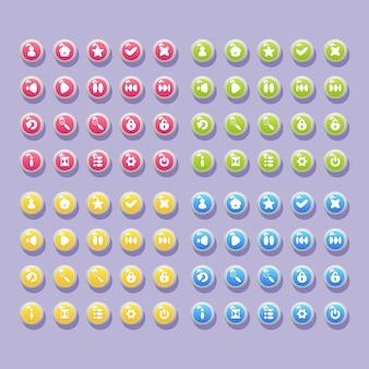 Conjunto de botões com ícones para o design da interface do usuário de jogos e aplicativos para celular