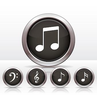 Conjunto de botões com o ícone de nota musical.