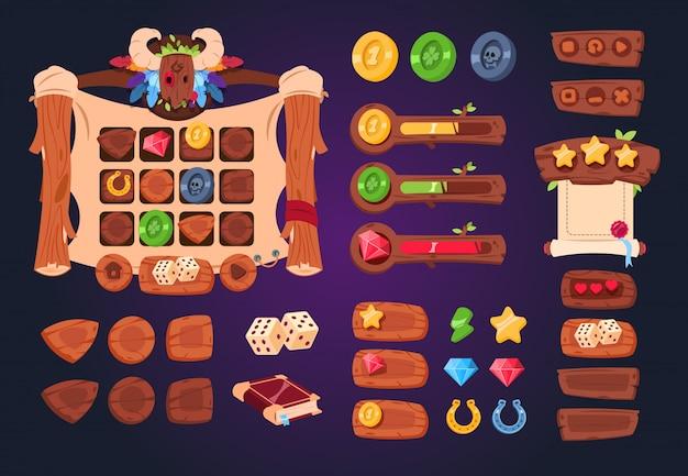 Conjunto de botões, controles deslizantes e ícones de madeira