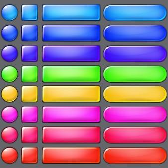 Conjunto de botões da web em branco e coloridos de várias formas