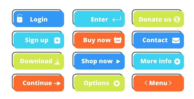 Conjunto de botões de ação