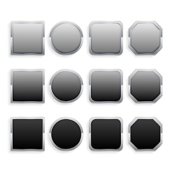 Conjunto de botões de armação de metal preto e cinza