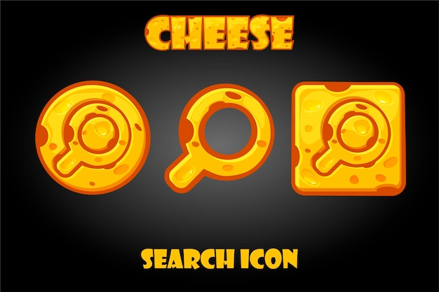 Conjunto de botões de busca de queijo para o jogo. ícones dos desenhos animados da lupa para o menu do jogo.