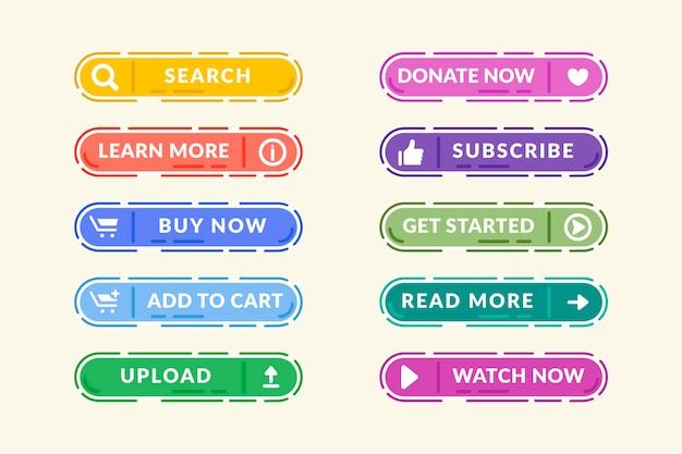 Conjunto de botões de call-to-action de design plano
