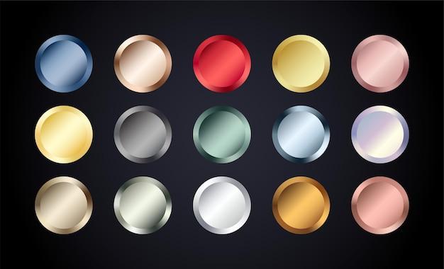 Conjunto de botões de círculo de metal cromado. crachá metálico em ouro rosa, bronze, prata, aço, holográfico e dourado. folha brilhante