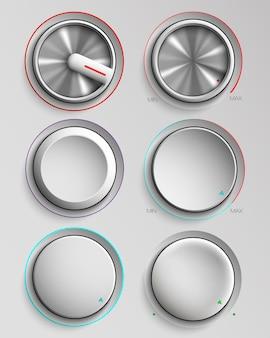 Conjunto de botões de controle de volume de realidade.