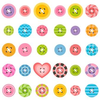 Conjunto de botões de costura texturizados