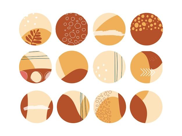 Conjunto de botões de destaque no estilo boho ícone de círculo minimalista para histórias de mídia social