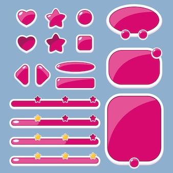 Conjunto de botões de diferentes formas, janelas e barras de progresso