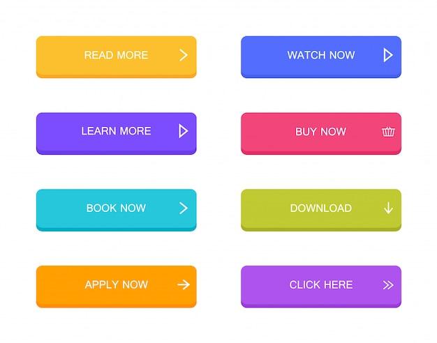 Conjunto de botões de estilo material moderno para site, aplicativo móvel e infográfico. diferentes cores gradientes. moderno estilo plano