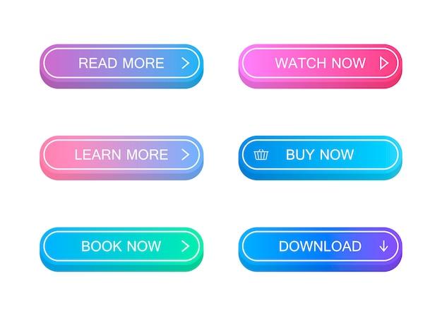 Conjunto de botões de estilo material moderno.