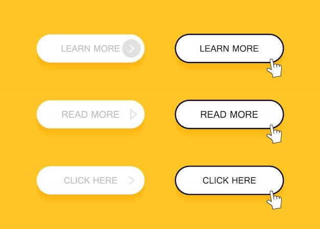 Conjunto de botões de estilo material moderno