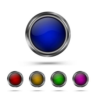 Conjunto de botões de forma redonda de vidro moderno
