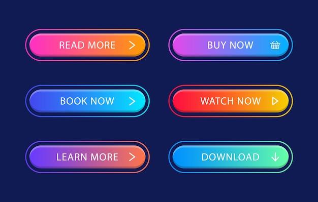Conjunto de botões de gradiente web modernos.
