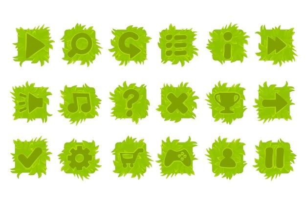 Conjunto de botões de grama para o menu do jogo. ícones verdes isolados para interface.