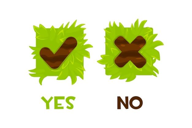 Conjunto de botões de grama sim ou não. botão quadrado isolado para jogos.