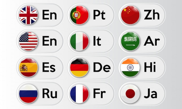 Conjunto de botões de idioma com bandeiras nacionais.