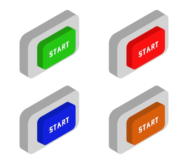 Conjunto de botões de início isométricos