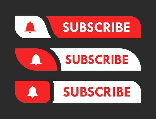 Conjunto de botões de inscrição no youtube