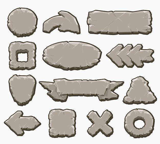 Conjunto de botões de interface de rocha dos desenhos animados