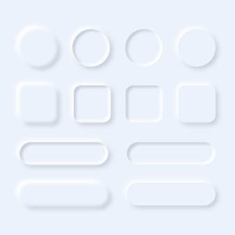 Conjunto de botões de interface de usuário neumórfico.