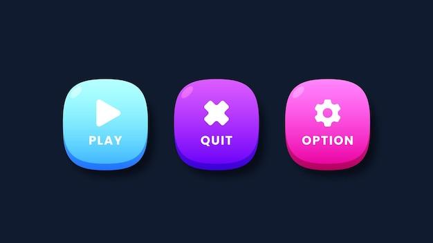 Conjunto de botões de interface do usuário do jogo