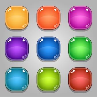 Conjunto de botões de jogo coloridos