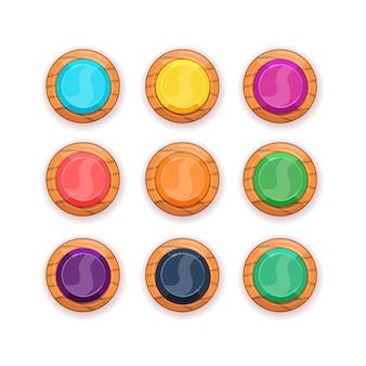 Conjunto de botões de madeira de desenho animado para jogos móveis ícones de formas redondas de madeira de vetor
