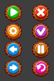 Conjunto de botões de madeira de vetor para o jogo. ícones ou sinais isolados redondos. Vetor Premium