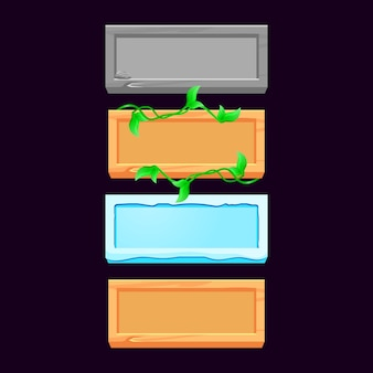 Conjunto de botões de madeira, pedra, gelo e folhas de madeira para elementos de ativos de interface do usuário do jogo
