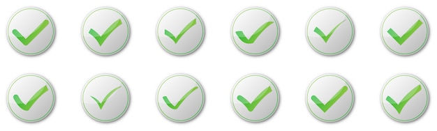 Conjunto de botões de marca de seleção em fundo branco. ilustração. ícones verdes aprovados com sombras