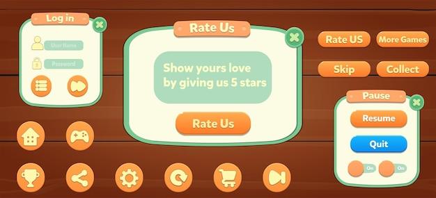 Conjunto de botões de menu de recursos do jogo, tela pop-up e botões de configuração