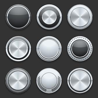 Conjunto de botões de metal cromado de metal prata