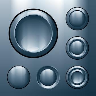 Conjunto de botões de metal