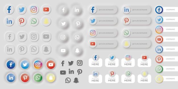 Conjunto de botões de mídias sociais no estilo neumorfo