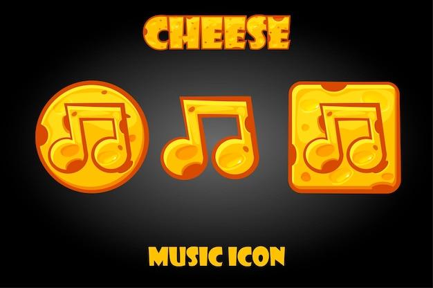 Conjunto de botões de música de queijo de vetor para menu. ícones de notas para a gui do jogo.