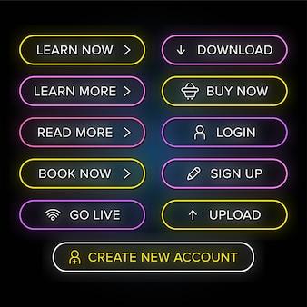 Conjunto de botões de neon web design