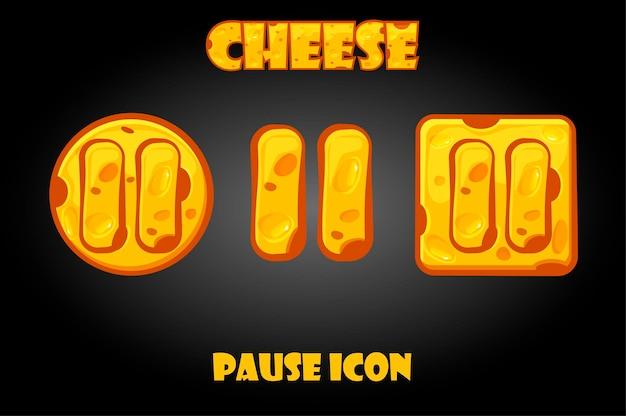Conjunto de botões de pausa de queijo para menu. ícones de parada para a gui do jogo.